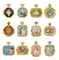 Estate Jewelry:Pendants and Lockets, Diamond, Multi-Stone, Painted Porcelain, Gold Pendants. ... (Total: 12 Items)