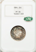 Proof Barber Quarters, 1894 25C PR64 NGC. Gold CAC....