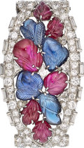 Estate Jewelry:Brooches - Pins, Art Deco Diamond, Ruby, Sapphire, Platinum Clip-Brooch. ...