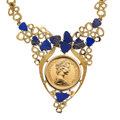 Estate Jewelry:Necklaces, Elizabeth II Gold Coin, Lapis Lazuli, Gold Necklace. ...