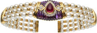 Tourmaline, Amethyst, Diamond, Cultured Pearl, Gold Necklace
