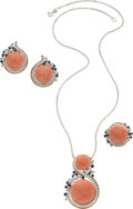 Estate Jewelry:Suites, Diamond, Coral, Sapphire, White Gold Jewelry Suite. ... (Total: 3Items)