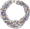 Estate Jewelry:Necklaces, Multi-Color Sapphire, Freshwater Cultured Pearl, White GoldNecklace, Mish NY. ...
