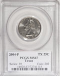 Statehood Quarters, 2004-P 25C Texas MS67 PCGS. PCGS Population (383/95). NumismediaWsl. Price for NGC/PCGS coin in MS67: ...