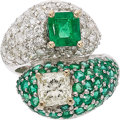 Estate Jewelry:Rings, Diamond, Emerald, White Gold Ring The bypass r...