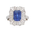 Estate Jewelry:Rings, Sapphire, Diamond, Platinum Ring  The ring fea...