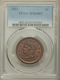 1851 1C MS64 Brown PCGS. PCGS Population: (181/117). NGC Census: (139/173). MS64. Mintage 9,889,707