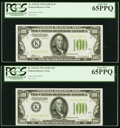 Fr. 2152-K $100 1934 Light Green Seal Federal Reserve Notes. Two Consecutive Examples. PCGS Gem New 65PPQ