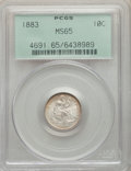 Seated Dimes: , 1883 10C MS65 PCGS. PCGS Population: (79/77). NGC Census: (75/63). MS65. Mintage 7,674,673. ...