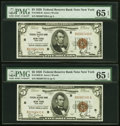 Fr. 1850-B $5 1929 Federal Reserve Bank Notes. Two Consecutive Example. PMG Gem Uncirculated 65 EPQ