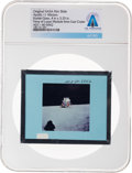 Explorers:Space Exploration, Apollo 11 Original NASA Glass Film Slide, a View of Lunar Module from East Crater, Directly From The Armstrong Family Coll...