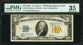 Small Size:World War II Emergency Notes, Fr. 2308 $10 1934 Mule North Africa Silver Certificate. PMG Choice Very Fine 35.. ...
