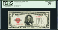 Fr. 1525* $5 1928 Legal Tender Note. PCGS Choice About New 58