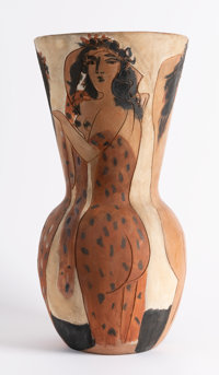 Pablo Picasso (1881-1973) Grand vase aux femmes voiles, 1950 Terracotta ceramic vase painted with wh