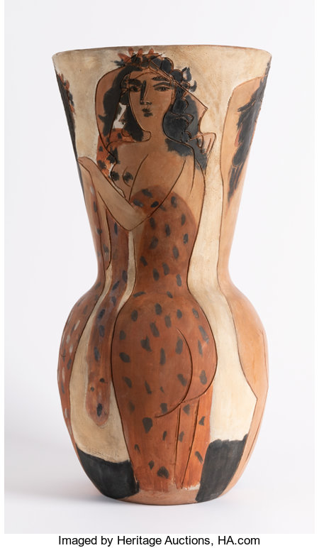 Pablo Picasso (1881-1973)Grand vase aux femmes voiles, 1950Terracotta ceramic vase painted with white, red and black...