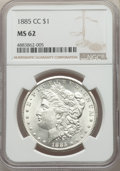 1885-CC $1 MS62 NGC. NGC Census: (1107/9406). PCGS Population: (1919/20147). CDN: $600 Whsle. Bid for problem-free NGC/P...