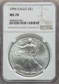 1996 $1 Silver Eagle MS70 NGC....(PCGS# 9900)