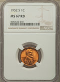 Lincoln Cents: , 1952-S 1C MS67 Red NGC. NGC Census: (432/0). PCGS Population: (188/0). CDN: $125 Whsle. Bid for problem-free NGC/PCGS MS67....