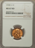 1938-S 1C MS67 Red NGC. NGC Census: (769/0). PCGS Population: (338/0). CDN: $115 Whsle. Bid for problem-free NGC/PCGS MS...