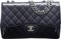 """Luxury Accessories:Bags, Chanel Limited Edition Dark Blue Quilted Patent Leather """"Mobile Art by Karl Lagerfeld"""" Jumbo Single Flap Bag with Silver Hardw..."""