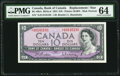 Canadian Currency, BC-40bA $10 1954 Replacement *A/D Prefix PMG Choice Uncirculated64.. ...