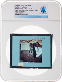 Apollo 11 Original NASA Glass Film Slide, an Image of the Lunar Module Pilot Station in LM Cabin, Directly From Th