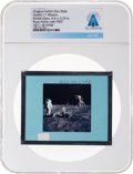 Explorers:Space Exploration, Apollo 11 Original NASA Glass Film Slide, an Image of Buzz Aldrin with PSEP, Directly From The Armstrong Family Collection...