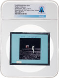 Explorers:Space Exploration, Apollo 11 Original NASA Glass Film Slide, an Image of Buzz Aldrin and U.S. Flag on Lunar Surface, Directly From The Armstr...