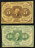 Fractional Currency:First Issue, Fr. 1230 5¢ First Issue VF-XF;. Fr. 1232 10¢ First Issue Fine.. ... (Total: 2 notes)