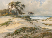 Percy Gray (American, 1869-1952) Sun-Kissed Sand Dunes, probably Monterey Watercolor on paper 12