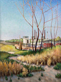 Fine Art - Painting, American, Otis Oldfield (American, 1890-1969). Steamboat Landing,Sacramento River, 1935. Oil on canvas. 42-1/2 x 31-1/2 inches(1...