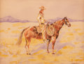 Paintings:Cowboy Artists, Edward Borein (American, 1873-1945). On the Range. Watercolor on paper. 9-3/4 x 13-1/4 inches (24.8 x 33.7 cm). Signed l...