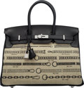 Luxury Accessories:Bags, Hermès Limited Edition 35cm Black Swift Leather & Toile De Camp Dechainee Birkin Bag with Palladium Hardware. The Collecti...