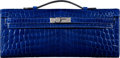 Luxury Accessories:Bags, Hermès Shiny Blue Electric Niloticus Crocodile Kelly Cut Clutch Bag with Palladium Hardware. N Square, 2010. Condition...