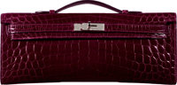 Hermès Shiny Bordeaux Niloticus Crocodile Kelly Cut Clutch Bag with Palladium Hardware N Square, 2010