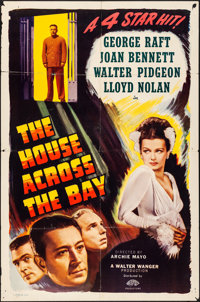"The House Across the Bay (Masterpiece Productions, R-1948). Folded, Fine+. One Sheet (27"" X 41""). Crime"