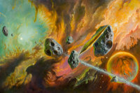 Bob Eggleton (American, b. 1960) Against the Fall of Night dust jacket cover, 2017 Oil on canvas 24 x 36 in. Signed