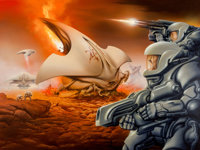 Jim Burns (American, b. 1948) The Forever War book cover, 2013 Acrylic on canvas 30 x 41 in. Initialed and dated '20