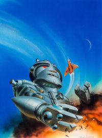 Chris Moore (American, b. 1947) Great Science Fiction Stories anthology cover, 1982 Acrylic on board 14 x 10-1/2 in