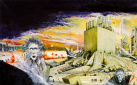 Ian Miller (American, b. 1946) A Maze of Death paperback cover, 1973 Mixed media on board 8-3/4 x 13-1/2 inches Not
