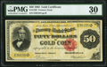 Large Size:Gold Certificates, Fr. 1195 $50 1882 Gold Certificate PMG Very Fine 30.. ...