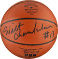 Basketball Collectibles:Balls, Wilt Chamberlain Single Signed Leather Game Basketball, PSA/DNA Gem Mint 10. ...