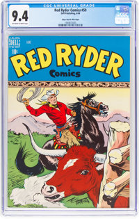 Red Ryder Comics #59 Mile High Pedigree (Dell, 1948) CGC NM 9.4 Off-white to white pages