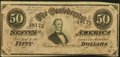 """Confederate Notes:1864 Issues, """"Representing Nothing on God's Earth Now"""" Confederate Poem T66 $50 1864 Fine.. ..."""