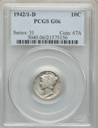 1942/1-D 10C Good 6 PCGS. PCGS Population: (5/1319). NGC Census: (6/958). CDN: $250 Whsle. Bid for problem-free NGC/PCGS...