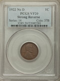 1922 1C No D, Strong Reverse, VF20 PCGS. PCGS Population: (683/3287). NGC Census: (0/0). CDN: $575 Whsle. Bid for proble...