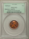 1970-S 1C Small Date PR67 Red PCGS. PCGS Population: (223/64). NGC Census: (156/41). Mintage 2,632,810. ...(PCGS# 3426)