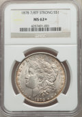 Morgan Dollars, 1878 7/8TF $1 Strong MS62+ NGC. NGC Census: (1185/3147 and 7/54+). PCGS Population: (1744/5457 and 9/126+). CDN: $185 Whsle...
