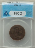 1794 1C Head of 1795 Fair 2 ANACS. NGC Census: (30/332). PCGS Population: (13/516). Mintage 918,521. ...(PCGS# 1365)