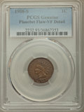 1908-S 1C -- Planchet Flaw -- PCGS Genuine. VF Details. NGC Census: (168/2375). PCGS Population: (299/3284). CDN: $110 W...